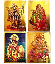 Radha Krishna, Krishna and Ganesha - Set of 4 Golden Metallic Paper Poster