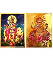 Krishna and Ganesha - Set of 2 Golden Metallic Paper Poster
