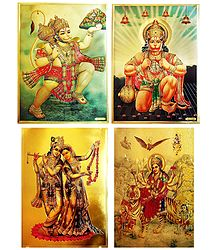 Hanuman, Radha Krishna and Bhagawati - Set of 4 Golden Metallic Paper Posters