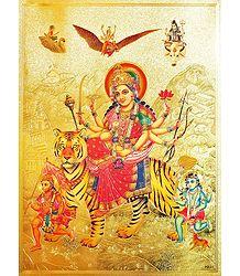 Vaishno Devi with Hanuman & Bhairav - Metallic Picture