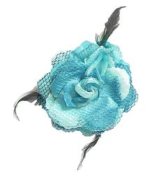 Light Blue Rose Hair Clip with Feather (can be used as Hair Band and Brooch also)