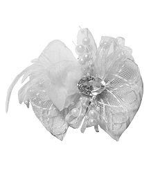 White Net Bow Hair Clip with Feather (can be used as Brooch also)