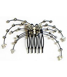 Grey and White Crystal Studded Butterfly Hair Comb