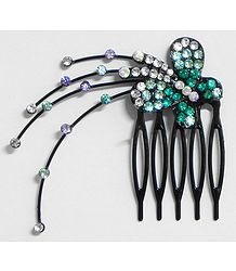 Cyan and White Crystal Studded Butterfly Hair Comb