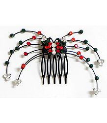 Red, Green and White Crystal Studded Butterfly Hair Comb