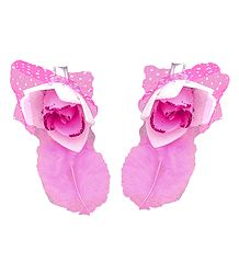 Set of 2 Pink Flower Hair Clip with Feather
