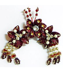 Maroon Flower Head Piece with Beads and Stone