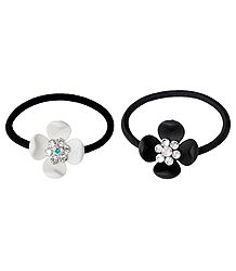 Set of 2 Black and White Acrylic Flowers on Elastic Hair Band for Ponytail Holder