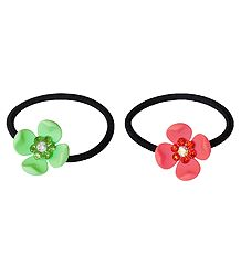 Set of 2 Green and Peach Acrylic Flowers on Elastic Hair Band for Ponytail Holder
