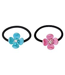 Set of 2 Blue and Pink Acrylic Flowers on Elastic Hair Band for Ponytail Holder