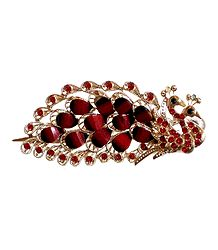 Red Stone Studded Peacock Design Press Hair Clip
