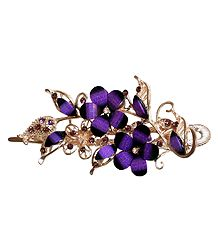 Purple Stone Studded Flower Design Press Hair Clip