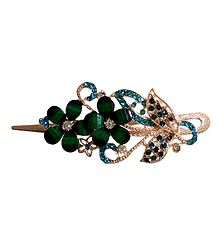 Green Stone Studded Flower Design Press Hair Clip