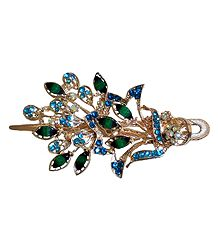 Green and Blue Stone Studded Flower Design Press Hair Clip