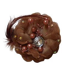 Brown Flower Hair Clip with Feather (can be used as Brooch also)