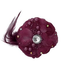 Light Maroon Flower Hair Clip with Feather (can be used as Brooch also)