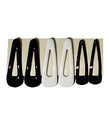 3 Pairs of Tik Tak Black and White Metal and Acrylic Hair Clip