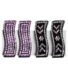 2 Pairs Tik Tak Stone Studded Black and Purple Acrylic Hair Clip