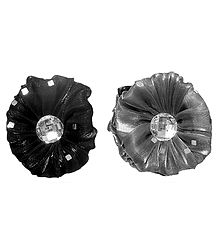 Pair of Black and Grey Glitter Cloth Hair Clutcher