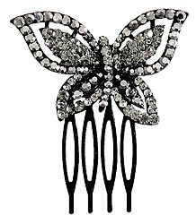 Grey Crystal Studded Butterfly Black Hair Comb