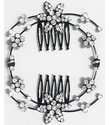 White Crystal Studded Flower Hair Comb