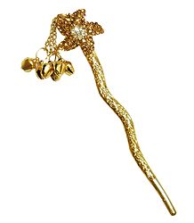 Stone Studded Flower Shaped Metal Pin for Hair Bun