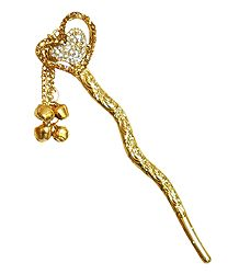 Stone Studded Heart Shaped Shaped Metal Pin for Hair Bun