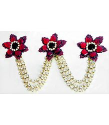 Maroon and White Stone Studded Metal Jewelry for Hair