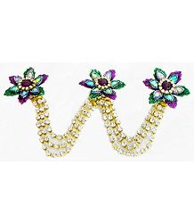 Multicolor and White Stone Studded Metal Jewelry for Hair