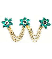 Cyan Green and White Stone Studded Metal Jewelry for Hair