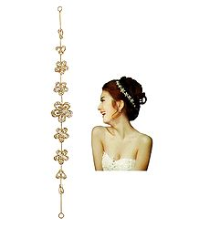 White Stone Studded Metal Flower Head Piece