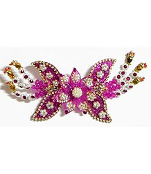 White and Red Stone Studded Magenta Flower Head Piece with Beads