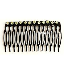 Light Yellow Crystal Studded Designer Hair Comb