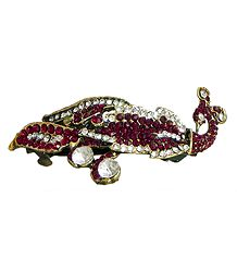Faux Garnet and Cubic Zirconia Peacock Hair Clip