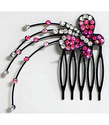 Magenta and White Crystal Studded Butterfly Hair Comb