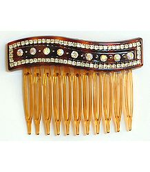 White Crystal Studded Designer Hair Comb