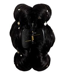 Synthetic Black Hair with Clutcher