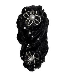 Stone Studded Black Synthetic Hair with Clutcher