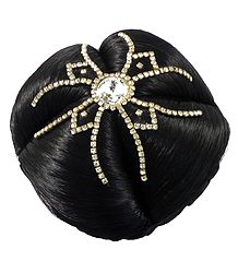 White Stone Studded Black Hair Bun
