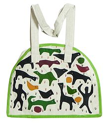 Folk Art Applique on Shoulder Bag with Two Zipped Pocket