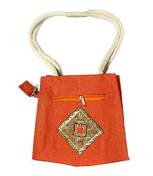Saffron Appliqued Bag with Two Open Pockets and Two Zipped Pockets