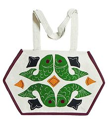 Fish Applique on Shoulder Bag with Two Zipped Pocket