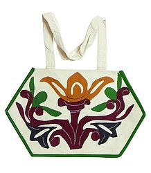 Plant with Flower Applique on Shoulder Bag with Two Zipped Pocket