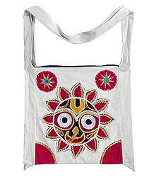 Appliqued Face of Jagannathdev on Off-White Cotton Shoulder Bag with Two Zipped Pocket