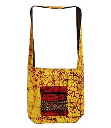 Kantha Embroidered Yellow with Maroon Batik Cotton Bag with Three Zipped Pocket