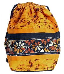 Kantha Embroidered Yellow Batik Potli Cotton Bag