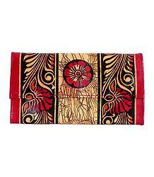 Batik Leather Clutch Purse