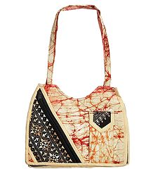 Kantha Embroidered Off White with Red Batik Cotton Bag with 3 Zipped Pocket and One Mobile Pocket