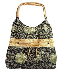 Black with Golden Brocade Silk Bag