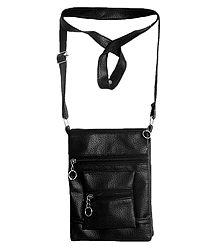 Black Rexine Sling Bag with Four Zipped Pocket